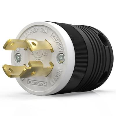 30 Amp 125-Volt/250-Volt NEMA L14-30P Locking Plug, Industrial Grade Grounding Heavy Duty, Black/White