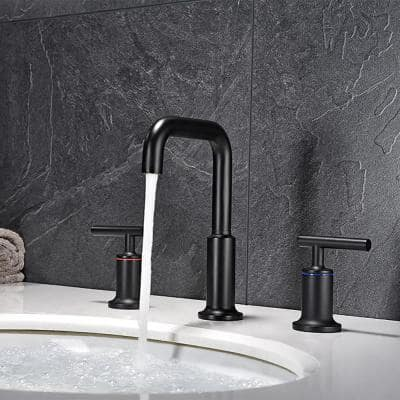 8 in. Widespread 2-Handle High-Arc Bathroom Faucet with Ceramic Disk Valve in Matte Black