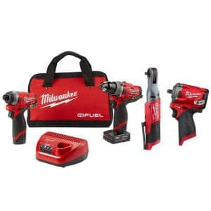 M12 FUEL 12-Volt Lithium-Ion Brushless Cordless Combo Kit (4-Tool) with 2 Batteries and Bag