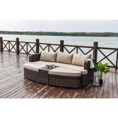 Beverly 4-Piece Brown Wicker Outdoor Patio Furniture Day Bed with Beige Cushions
