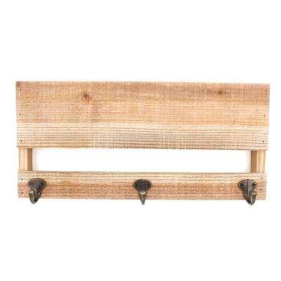 Project Craft Unfinished Blank Wood Plaque Wall Rack with Metal Hooks, Mounted Display, 15.75 in. x 7.25 in.