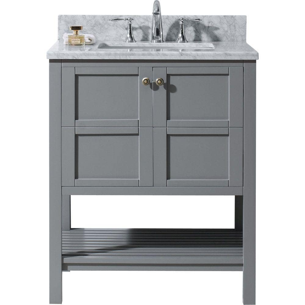 Virtu Usa Winterfell 30 In W Bath Vanity In Gray With Marble Vanity Top In White With Square Basin Es 30030 Wmsq Gr Nm The Home Depot