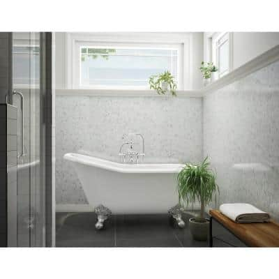 Ocean White and Gray 12.09 in. x 11.65 in. x 5mm Stone Self-Adhesive Wall Mosaic Tile (11.76 sq. ft. /case)