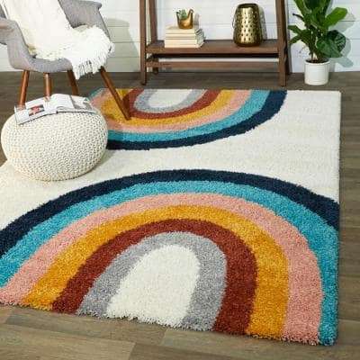Double Rainbow Cream 5 ft. x 7 ft. Kids Area Rug