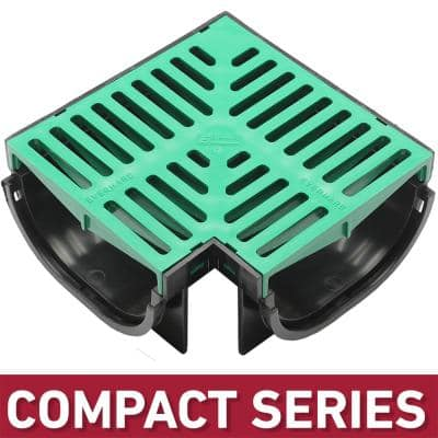 Compact Series 90 Corner for 3.2 in. D Trench and Channel Drain Systems w/ Green Grate