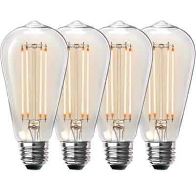 100-Watt Equivalent ST19 Dimmable Straight Filament Clear Glass Vintage Edison LED Light Bulb, Warm White (4-Pack)