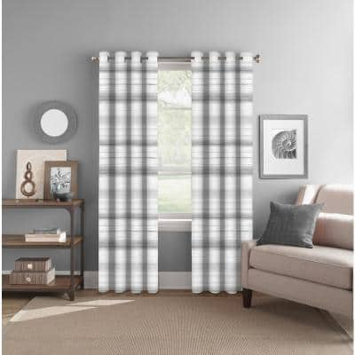 Grey/Neutral Striped Polyester 52 in. W x 84 in. L Back Tab Room Darkening Curtain Panel