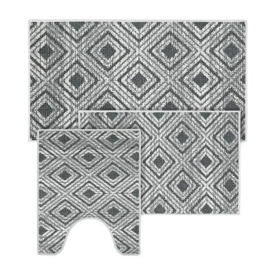 Gray II Color Geometric Daimond Design Cotton Non-Slip Washable Thin 3 Piece Bathroom Rugs Sets