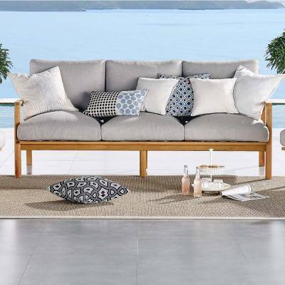Orlean Eucalyptus Wood Outdoor Couch Sofa in Natural with Light Gray Cushions