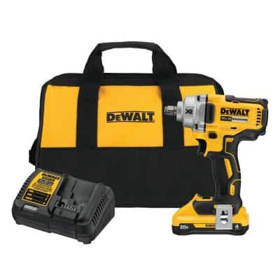20-Volt MAX XR Cordless Brushless 1/2 in. Mid-Range Impact Wrench Hog Ring Anvil, (1) 20-Volt 4.0Ah Battery & Charger