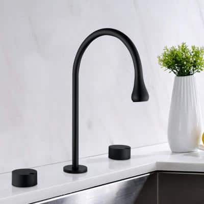 8 in. Widespread Double Handle High Arc Bathroom Faucet with Higher Spout Height in Matte Black
