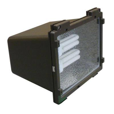 Multi-Use Wall Mount 2-Light Outdoor Bronze Fluorescent Flood Light