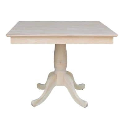 Unfinished Solid Wood 36 in Square Pedestal Dining Table