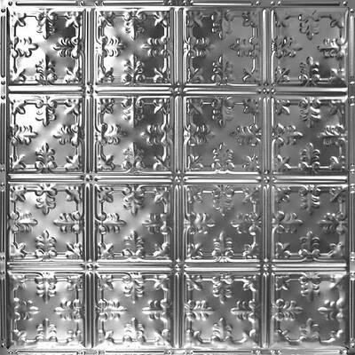 Pattern #21 24 in. x 24 in. Brushed Satin Nickel Tin Wall Tile Backsplash Kit (5 pack)
