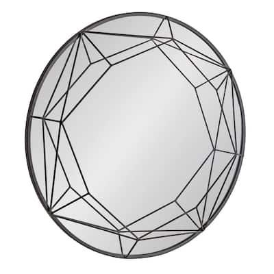 Medium Round Black Modern Mirror (30 in. H x 30 in. W)