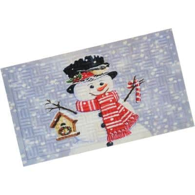 """17.5"""" x 29"""" Indoor Rubber-Backed Holiday Entrance Mat - Snowman White"""