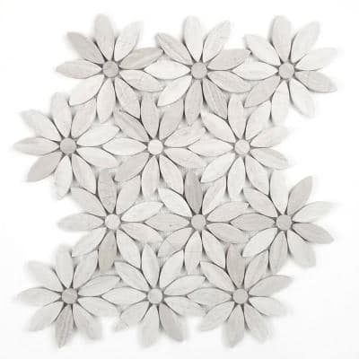 Tuscany Royal Beige Flower Mosaic 12 in. x 12 in. Marble Wall & Floor Tile (10 sq. ft./Case)