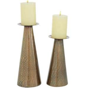 Bronze Stainless Steel Contemporary Candle Holder (Set of 2)