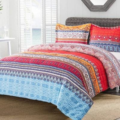 2-Piece Boho Luxury Microfiber Twin Comforter Set Printed Comforter with 1 -Pillow Sham
