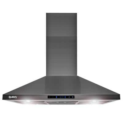 36 in. 343 CFM Convertible Island Mount Range Hood Touch Controls and LED Lights in Black Stainless Steel