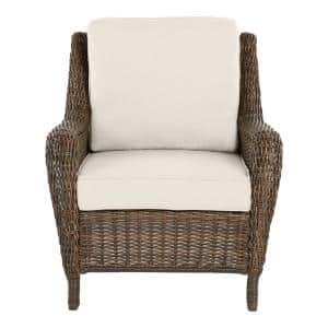 Cambridge Brown Wicker Outdoor Patio Lounge Chair with CushionGuard Almond Tan Cushions