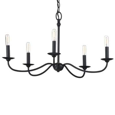 Pacolet 28 in. 5-Light Textured Black Farmhouse Circle Chandelier for Dining Room