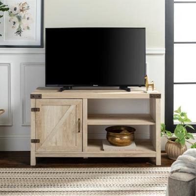 16 in. White Oak Composite TV Stand 52 in. with Doors