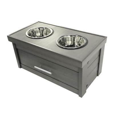 ECOFLEX Piedmont 40 oz. 2-Bowl Dog Diner with Storage Drawer in Grey