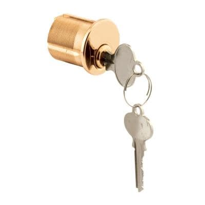 Mortise Cylinder, 1-1/4 in., Solid Polished Brass, 5 Pin Tumbler