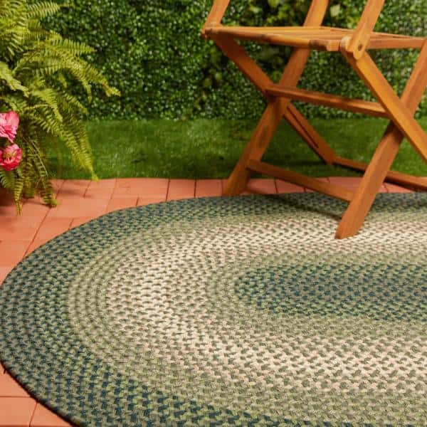 Rhody Rug Pioneer Green Multi 4 Ft X 6 Ft Oval Indoor Outdoor Braided Area Rug Pi22r048x072 The Home Depot