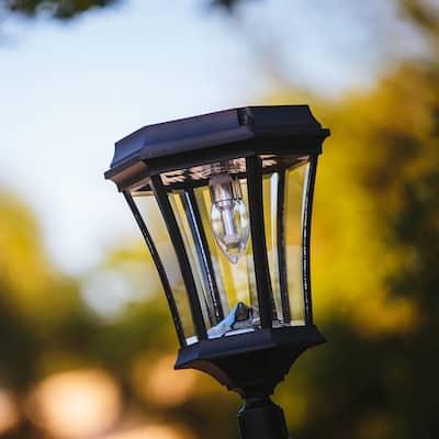 Victorian Bulb Solar Post Light Black 1-Light Integrated LED Outdoor Solar Lamp Post Light with Warm White LED Bulb