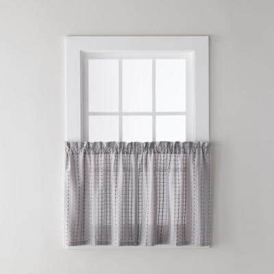Gray Polka Dot Rod Pocket Room Darkening Curtain - 57 in. W x 36 in. L (Set of 2)