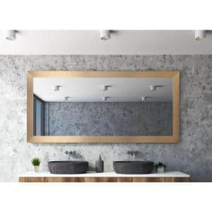 Oversized Champagne Composite Hooks Mid-Century Modern Mirror (65.5 in. H X 32 in. W)