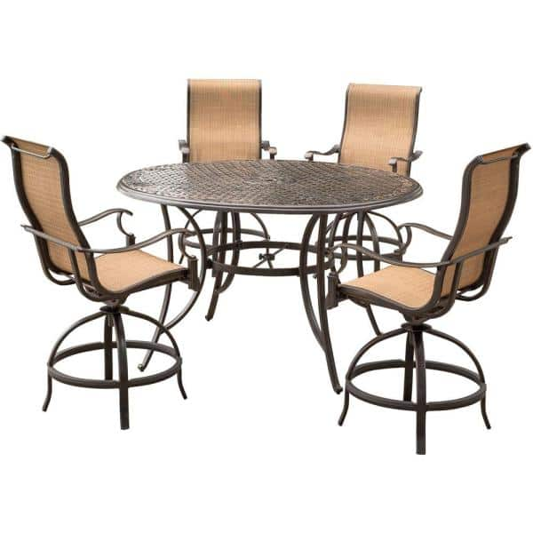 Agio Somerset 5 Piece Aluminum Round, Outdoor Bar Top Dining Table