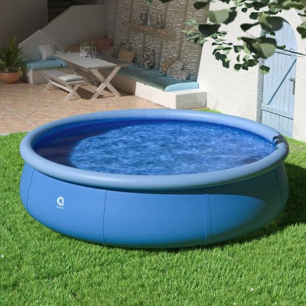 Jilong 12 Ft Round 36 In D Easy Set Above Ground Inflatable Pool Family Swimming Pool Outdoor Garden Tcht Kf100004 04 The Home Depot
