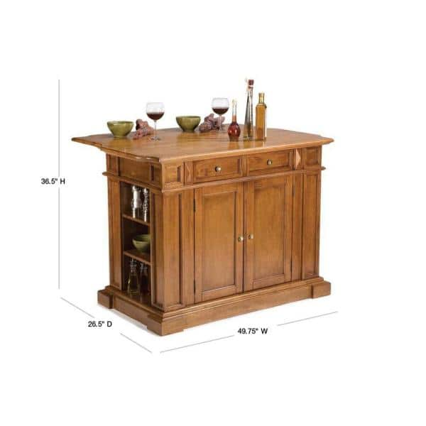 Homestyles Americana Distressed Cottage Oak Kitchen Island With Drop Leaf 5004 94 The Home Depot