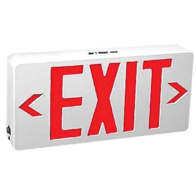 120-Volt White Housing Integrated LED Red Exit Sign with Universal Battery Backup