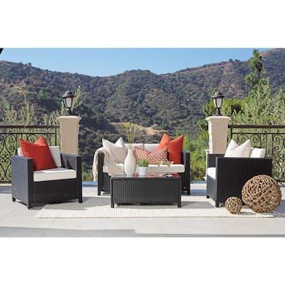 Sienna Black 4-Piece Wicker Patio Conversation Set with White Cushions