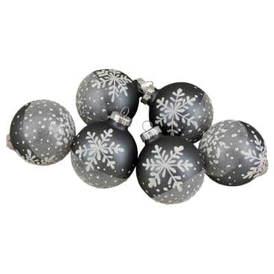 Gray and White Snowflake Glass Christmas Ball Ornaments 4 in. (101 mm) (Set of 6)