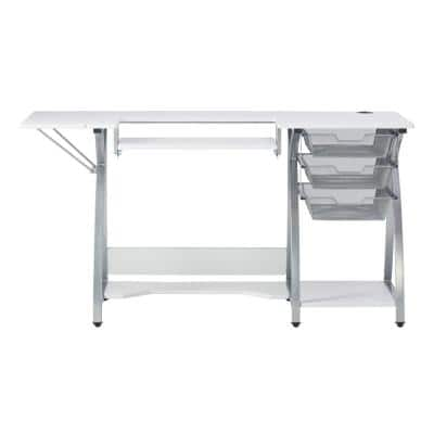 Pro Stitch 56.75 in. W PB Craft Sewing Table with Metal Mesh Drawers, Side Shelf, Drop-Down Platform in Silver/White