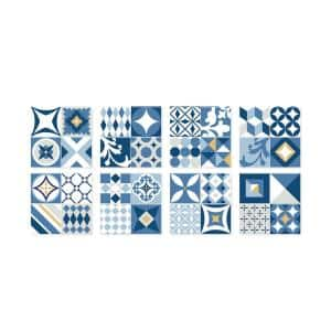 Vintage Azur 9 in. W x 9 in. H Blue, Gray and Yellow Peel and Stick Decorative Mosaic Wall Tile Backsplash (4-Pack)