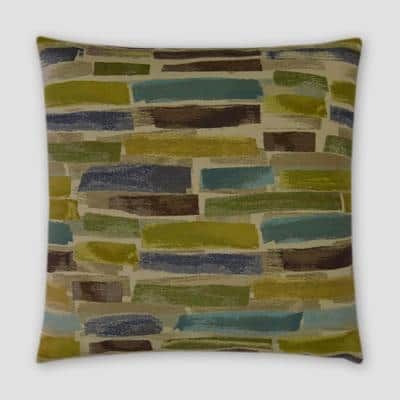 Paintstrokes Green Geometric Down 18 in. x 18 in. Throw Pillow