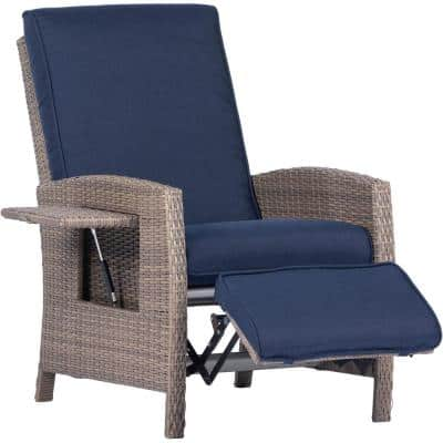 Portland Wicker Outdoor Recliner with Navy Cushions