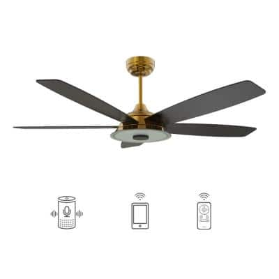 Hardley 52 in. Dimmable LED Indoor/Outdoor Gold Smart Ceiling Fan with Light and Remote, Works with Alexa/Google Home