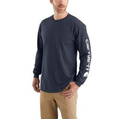 Men's Regular Large Navy Cotton Long-Sleeve T-Shirt