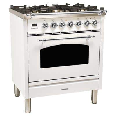 30 in. 3.0 cu. ft. Single Oven Italian Gas Range with True Convection, 5 Burners, Chrome Trim in White