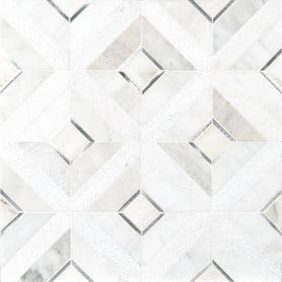 Verona Silver Pattern 11.85 in. x 11.85 in. x 8mm Multi-Surface Mesh-Mounted Mosaic Tile (9.8 sq. ft./Case)