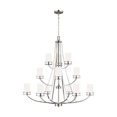 Robie 12-Light Brushed Nickel Craftsman Transitional Empire Chandelier with Etched White Glass Shades and LED Bulbs
