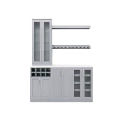 Home Bar 21 in. Gray Cabinet Set (7-Piece)