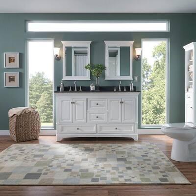 Moorpark 61 in. W x 22 in. D Double Bath Vanity in White with Granite Vanity Top in Black